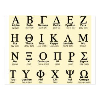 Geschenke des griechischen Alphabetes Postkarte