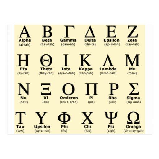Geschenke des griechischen Alphabetes Postkarten