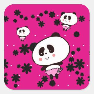 Geschenke für Mädchen-die niedlichen Panda-Bären Quadratischer Aufkleber