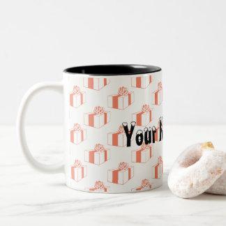 Geschenke und Ihr Name hier Zweifarbige Tasse