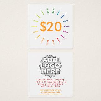 Geschenkgutschein rainbowBurst Quadratische Visitenkarte