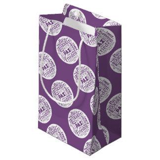 Geschenktasche lila mit multi Sprachfrieden Kleine Geschenktüte
