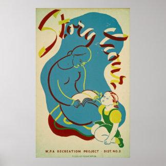 Geschichten-Stunden-Vintages Plakat