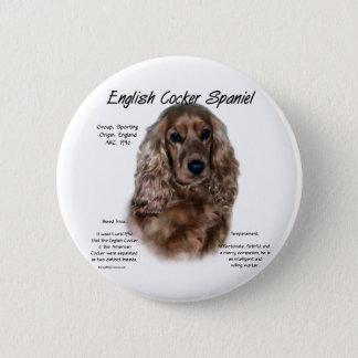 Geschichtsentwurf Englisch-Cocker spaniels (Leber) Runder Button 5,1 Cm