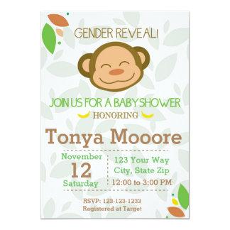 Geschlecht decken Affe-Babyparty-Einladung auf Karte