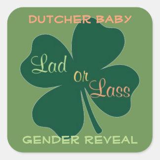 Geschlecht decken irisches Baby auf Quadratischer Aufkleber