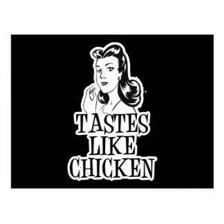 Geschmäcke mögen Huhn-Retro Dame Postkarte