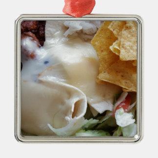 Geschmolzene Käsenacho-lustige Nahrung Silbernes Ornament