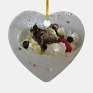 Geschmolzener Schokoladenball mit Zabaglionecreme Keramik Ornament