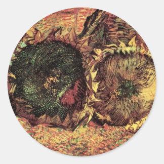 Geschnittene Sonnenblumen Van Gogh 2, Vintage Runder Aufkleber