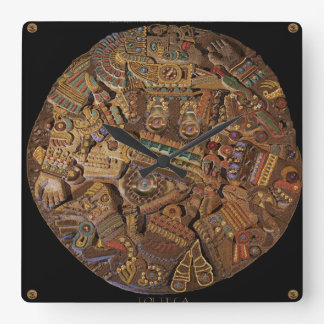 Geschnitzte aztekische mexikanische quadratische wanduhr
