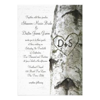 Geschnitzte Herz-Birken-Baum-Hochzeit Individuelle Einladungen