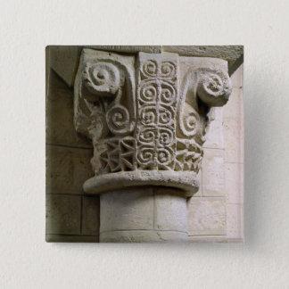 Geschnitzte Spalte verziert mit Croziers und Quadratischer Button 5,1 Cm