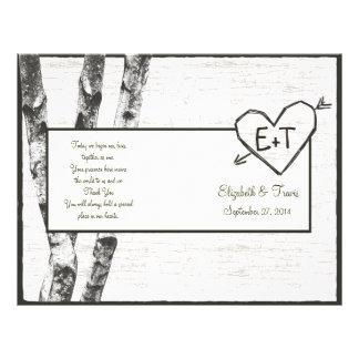 Geschnitztes Birken-Baum-Hochzeits-Programm Flyer