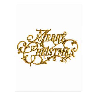 """Geschnitztes, goldenes extravagantes Skript """"frohe Postkarte"""