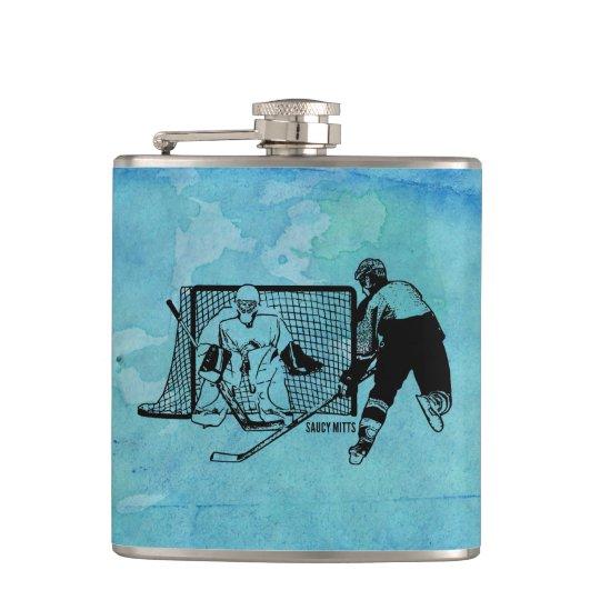 Geschossen auf NettoHockey-Skizze auf blauem Flachmann