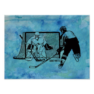 Geschossen auf NettoHockey-Skizze auf blauem Poster