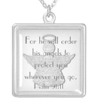 Geschützt bis zum Engelsbibel-Vers Psalm-91:11 Versilberte Kette