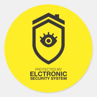 Geschützt durch Elektronik Sicherheitssystem Runder Aufkleber
