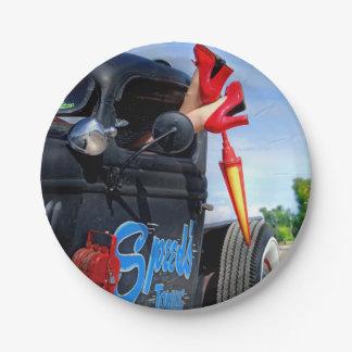 Geschwindigkeiten, die Ratten-Rod-LKW-Rockabilly Pappteller