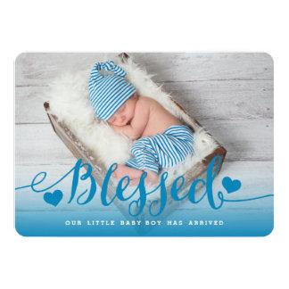 Gesegnete   blaue Baby-Geburts-Mitteilung 12,7 X 17,8 Cm Einladungskarte