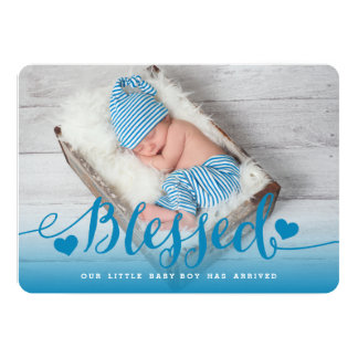 Gesegnete   blaue Baby-Geburts-Mitteilung Karte