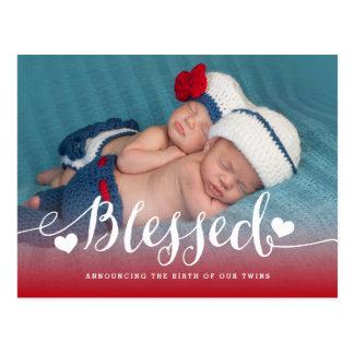 Gesegnete Foto-Geburts-Mitteilung der Zwillings-  Postkarte
