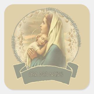 Gesegnete Jungfrau Mary mit Baby Jesus Quadratischer Aufkleber