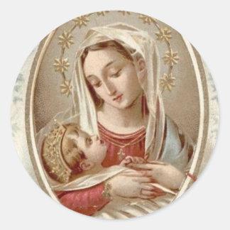 Gesegnete Jungfrau Mary mit Baby Jesus Runder Aufkleber