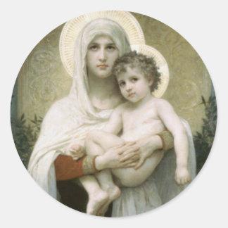Gesegnete Jungfrau Mary mit Kind Jesus Runder Aufkleber