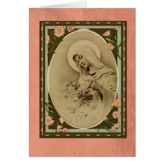 Gesegnete Jungfrau Mary mit Pfirsich-Rosen Karte