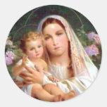 Gesegnete Jungfrau Mary und Säuglings-Kind Jesus Runder Aufkleber