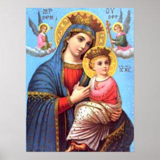 Gesegnete Jungfrau Mary und Säuglings-Kind Jesus Poster