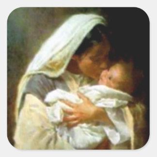 Gesegnete Jungfrau Mary und Säuglings-Kind Jesus Quadratischer Aufkleber