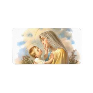 Gesegnete Mutter-Baby-Jesus-Rosen Adressaufkleber