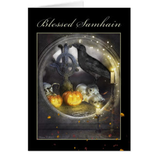 Gesegnete Samhain mystische Raben-Gruß-Karte Karte
