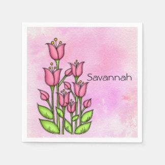 Gesegnete Watercolor-Gekritzel-Blumen-Serviette Papierserviette