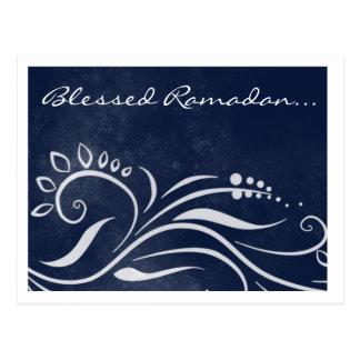 Gesegneter blauer verzierter islamischer Gruß Postkarte