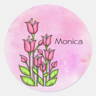Gesegneter Watercolor-Gekritzel-Blumen-Aufkleber Runder Aufkleber