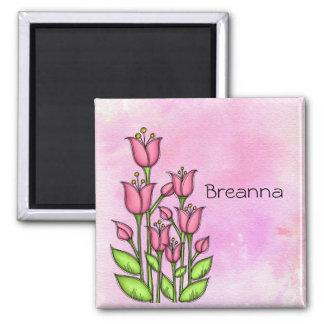 Gesegneter Watercolor-Gekritzel-Blumen-Magnet Quadratischer Magnet