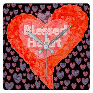 Gesegnetes Herz Quadratische Wanduhr