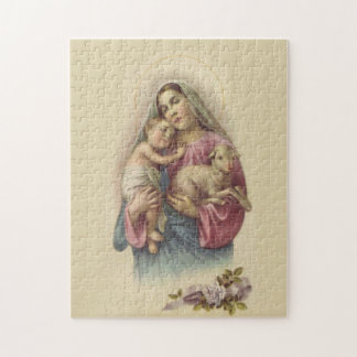 Gesegnetes Jungfrau-Mary-Mutter-Baby-Jesus-Lamm Puzzle
