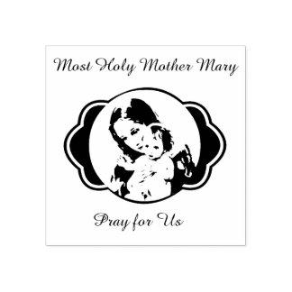 Gesegnetes Mutter-Mary-Baby Jesus Gummistempel