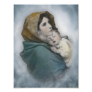Gesegnetes Mutter-und Baby-Jesus-Aquarell Poster