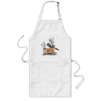 Gesessenes Denken des Koch Charakter mit Lange Schürze