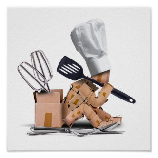 Gesessenes Denken des Koch Charakter mit Poster