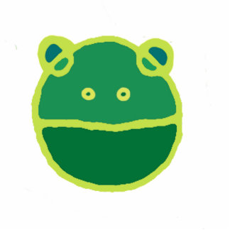 Gesicht des grünen Frosches Fotoskulptur Button