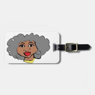 Gesicht des Schwarzen der alten Frauen des Cartoon Gepäckanhänger