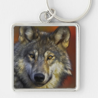 Gesicht eines Wolf-Fotos Schlüsselanhänger