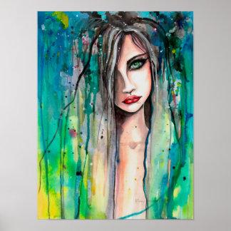 Gesicht in Farben-abstraktem Fantasie-Porträt 12 x Poster